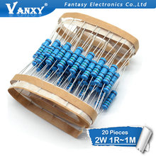 20pcs 2W Metal film resistor 1% 1R ~ 1M 2.2R 4.7R 10R 22R 47R 100R 220R 470R 1K 10K 100K 2.2 4.7 10 22 47 100 220 470 ohm(China)