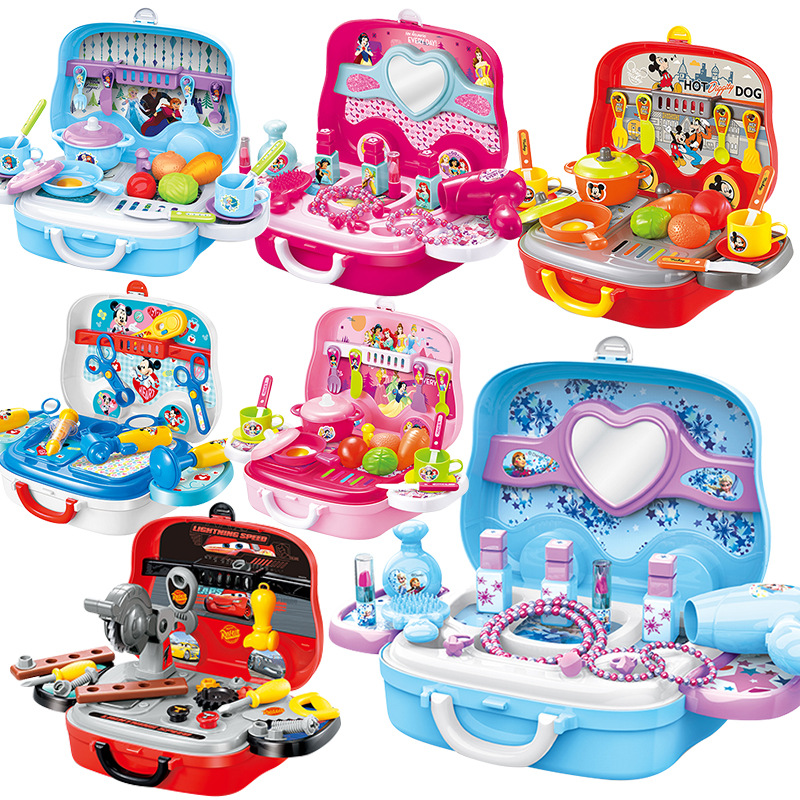 Disney Portable Suitcase Toys Tool Kitchen Cosmetic Medical Juguetes Boy Girl Educational Pretend Play Toys For Kids Luggage Box