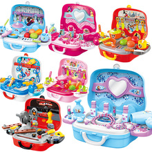 Disney Portable Suitcase Toys Tool Kitchen Cosmetic Medical Juguetes Boy Girl Educational Pretend Play for Kids Luggage Box