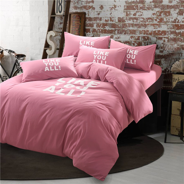 Rose Red Pink Bedding Queen Full Size Letter Bedding Set Winter