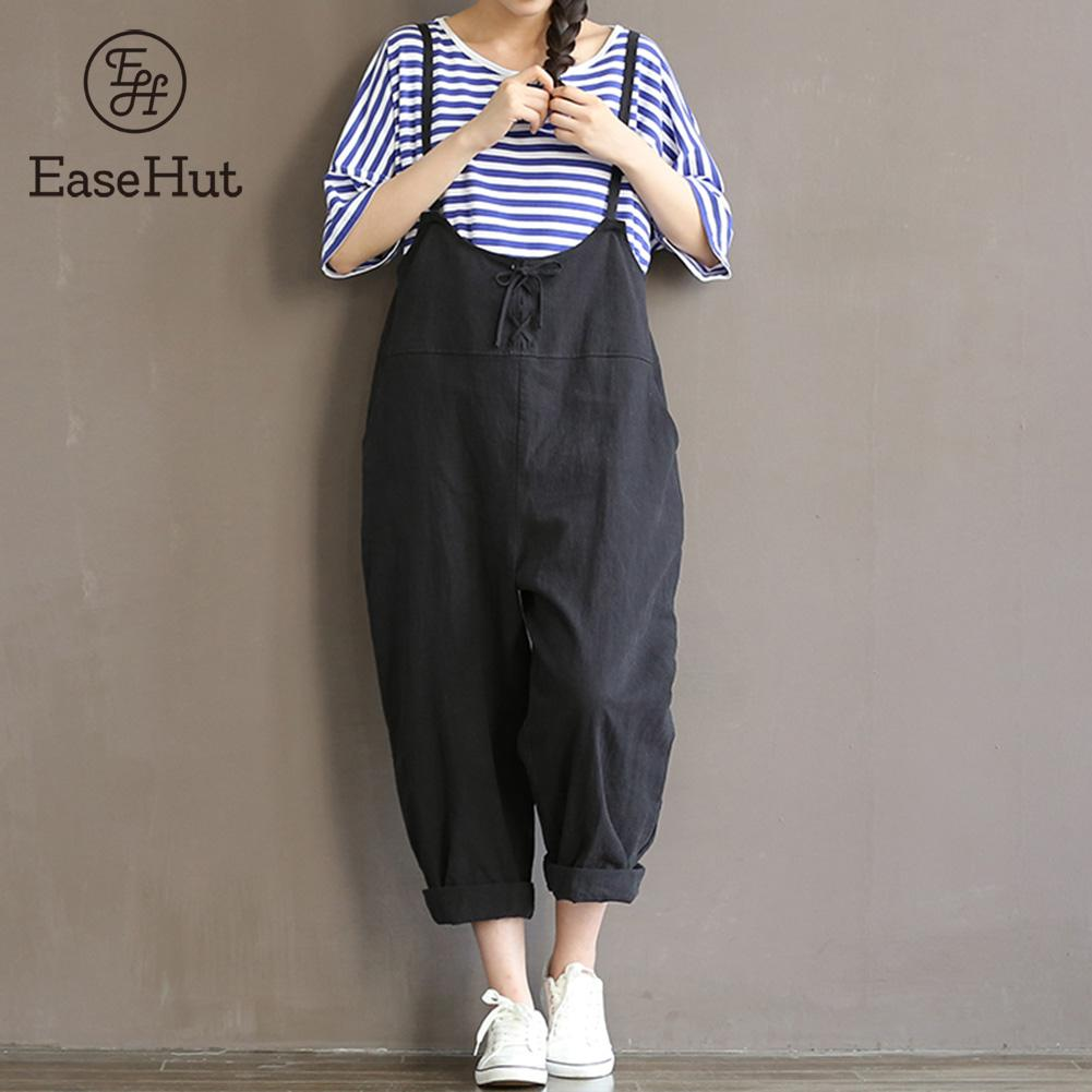 EaseHut 2018 Rompers Womens Jumpsuits Casual Sleeveless Backless Jumpsuit Loose Solid Overalls Strapless Playsuits Plus Size 5XL