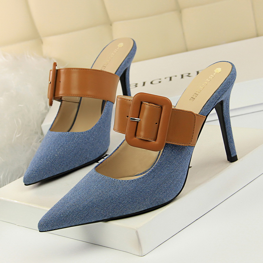 Liren 2019 Summer Fashion Sexy Lady Party Sandals Shallow Pointed Toe Wrapped Toe Leather Buckle Women Sandals Size 34 40 in High Heels from Shoes