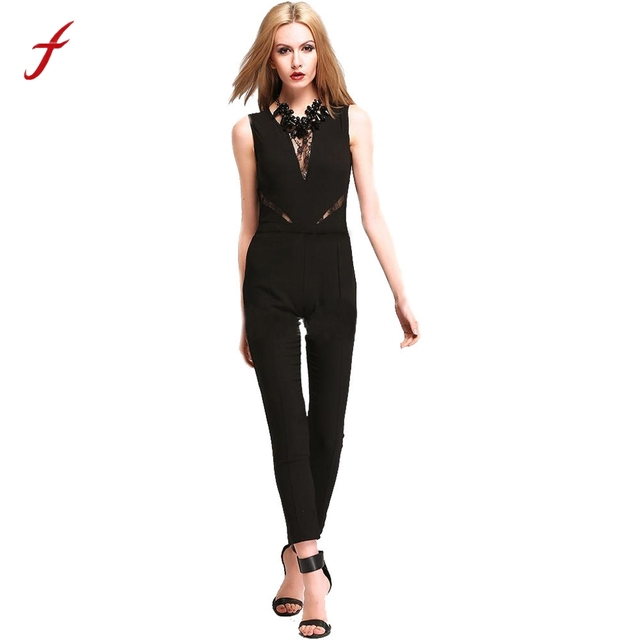 c17ce6e3175 Overalls for women Rompers Bodysuit Sleeveless Soild Playsuit Ladies Lace  Long Jumpsuit For Club Evening Party 2017 Hot sale