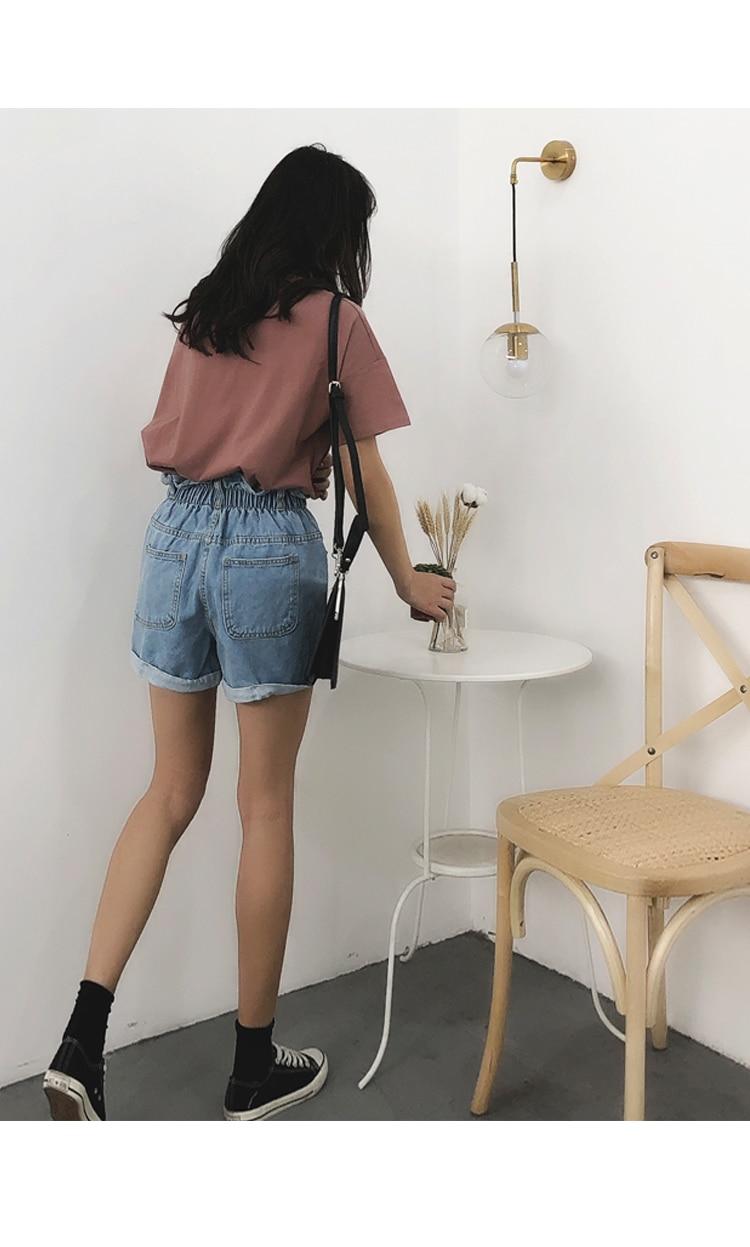 Roll Up Hem Elastic Waist Pocket Blue White Jeans Female 16