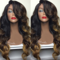 Top beauty three color body wave synthetic lace front wig glueless brown color synthetic lace front wig for black women wigs