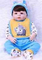 "Npk marca menina menino boneca renascer 22 ""corpo de vinil silicone completo crianças jogar casa brinquedos presente bebes reborn menino bonecas"