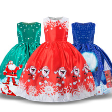 Girls Dresses Sleeveless Christmas Holiday Children Clothing Party Kids Santa Costume New Year Dresses Kids Christmas Dress children s dresses new girls dresses printed rural children s beach dresses holiday wind factory direct sales spot