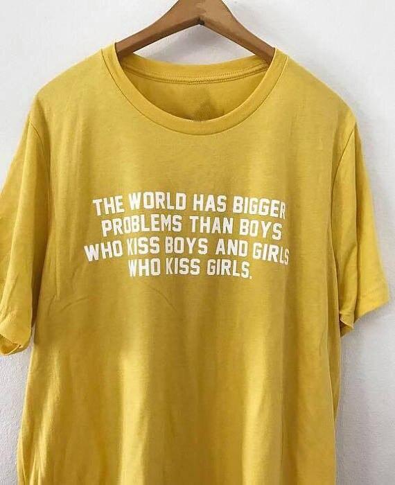 Die welt hat größere probleme warum werden racist T-shirt lesbian homosexuell stolz tumblr hemd instagram Unisex mode t-shirt