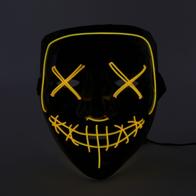 New Cosplay Party Masks Funny Mask Full Face Covered EL Wire Light Up Mask For Festival Party Holiday LED Costume