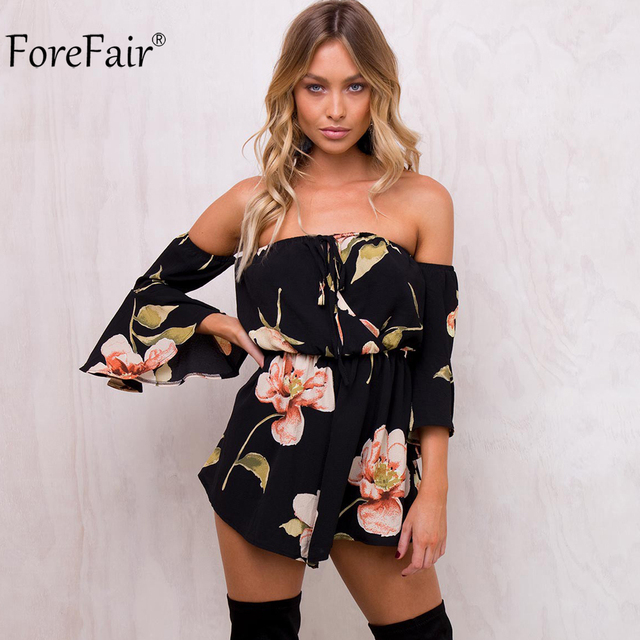 1fa4bcb47a3c ForeFair Summer Floral Print Elastic Waist Chiffon Jumpsuit Women Autumn  Flare Sleeve Sexy Strapless Rompers Overalls