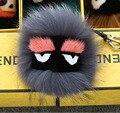 Marca Billetera de Cuero Negro Pom Pom fend fur monster doll llavero encanto del carro de golf bolsa colgante correa con logotipo