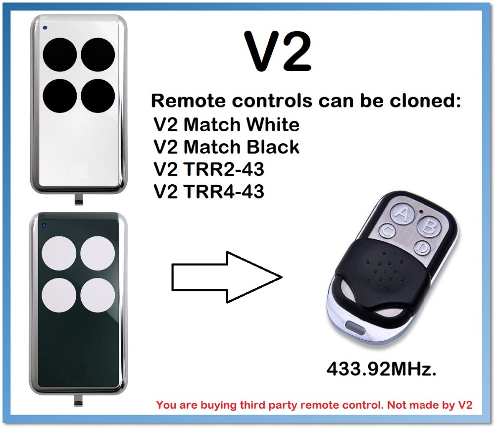 V2 Match White, Match Black Remote Control Duplicator 4-Channel 433.92MHz .(only For 433.92mhz Fixed Code)