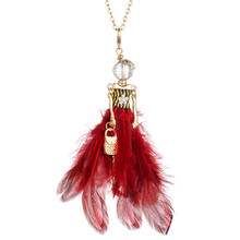 Rhinestone Feather Long Dress Dancing Girl Statement Necklace Paris Doll Pendant Chain For Women Maxi Jewelry