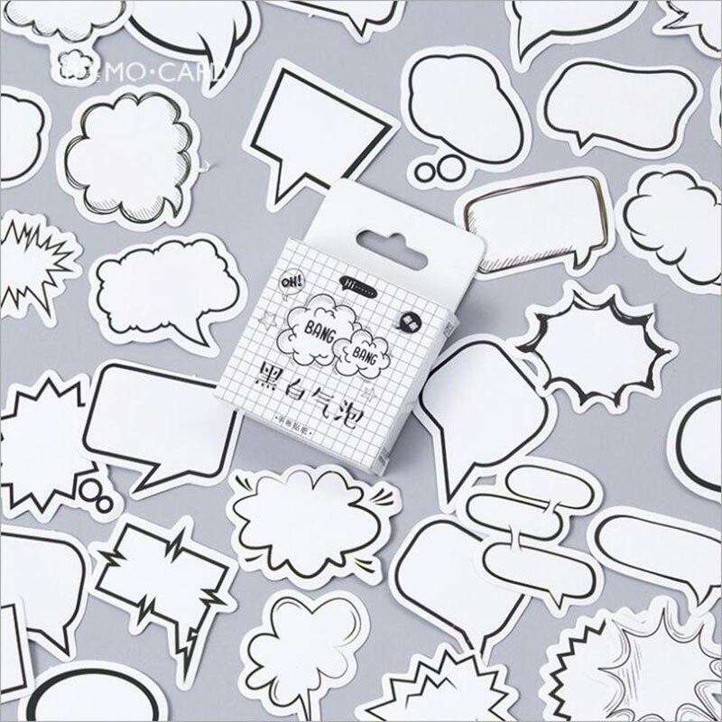 Blanco y negro de burbuja en caja pegatinas etiquetas en blanco y negro de las etiquetas engomadas de la artesanía regalos decoración papelería 45 unids/caja