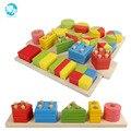 Montessori Juguetes Educativos de madera Para Niños de Educación Temprana de madera Montessori Enseñanza Sida Geométricos bloque