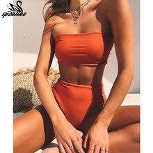 High Leg Bandeau font b bikini b font set font b Swimwear b font female two