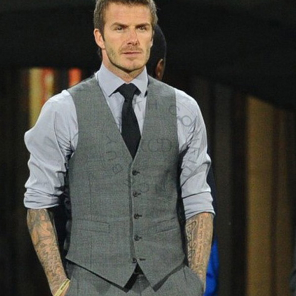 Fashion Classical Mens Gray Fit Slim Skinny Casual Vest Formal Suit