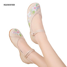 RGKWXYER Vintage Embroidered Women Flats Flower Slip On Cotton Fabric Linen Comfortable Ballerina Flat Shoes Sapato Feminino veowalk chinese knot women thin canvas ballet flats floral embroidered vintage ladies casual comfortable slip on linen shoes
