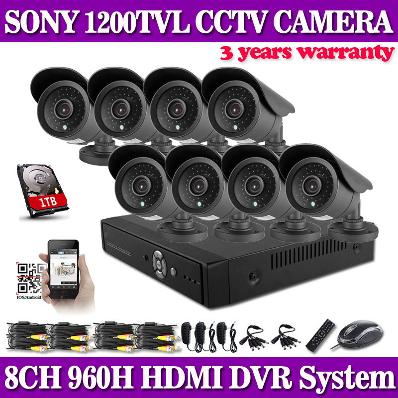 HD 1200TVL 8CH FULL 960H font b security b font system CCTV 3G Wifi DVR KIT