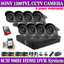 Hd 1200TVL 8CH completa 960 H sistema de seguridad CCTV 3 G Wifi DVR KIT 8 * exterior cámara bullet sistema de vigilancia de vídeo con 1 TB HDD