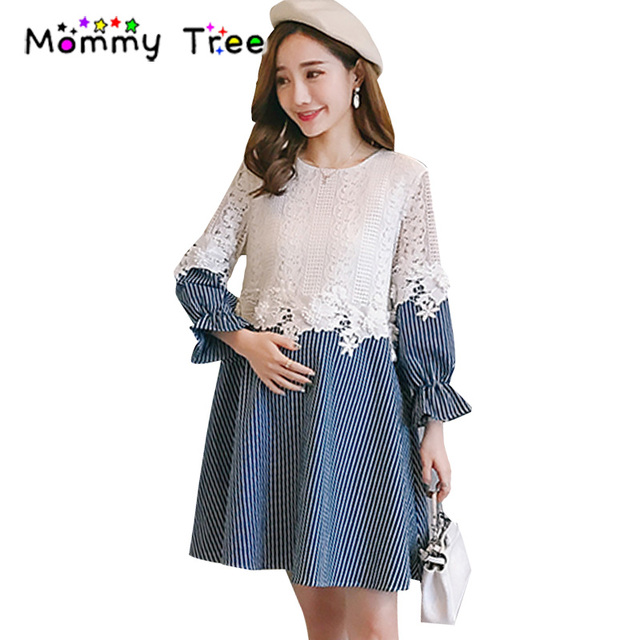 Maternity Dress Fashion Spring Autumn Dresses For Women Pregnancy Pregnant Lace Stripe