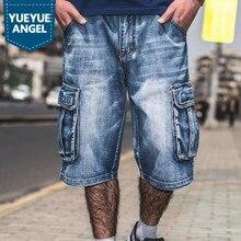 Verano de gran tamaño 40 42 44 46 hombres Hip Hop pantalones cortos Denim  de la longitud de la rodilla suelta pantalones vaquero. 11881eef3ea