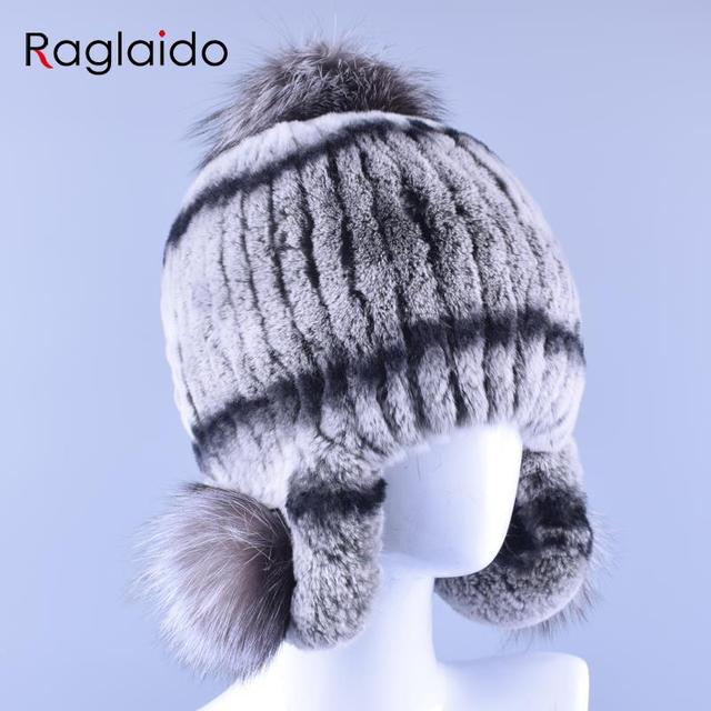 3colors Women Winter Hats Trapper Cap Genuine Real Fur Rex Rabbit Pompom Hats Hand Knitted Female Hat with Ear Flaps LQ11150