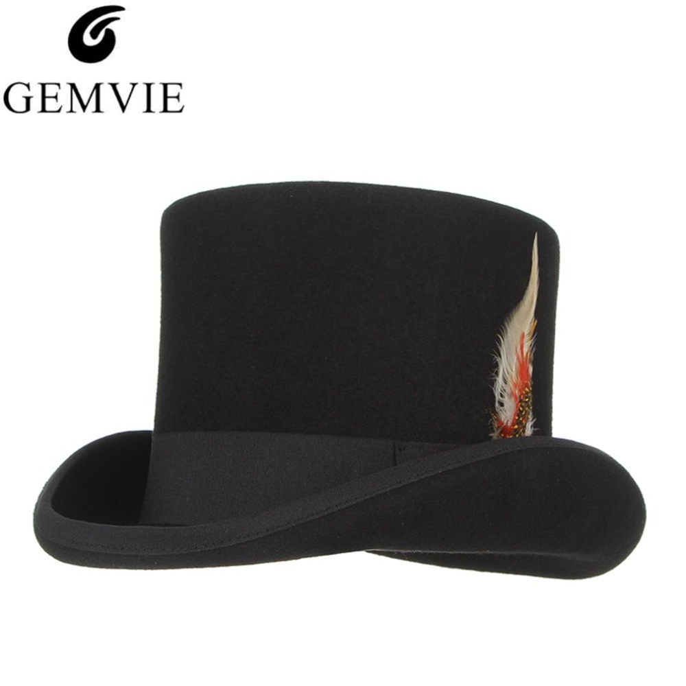 GEMVIE Cylinder With Feather 100 Wool Felt Top Hat For Men Women Costume Fedora Mad Hatter