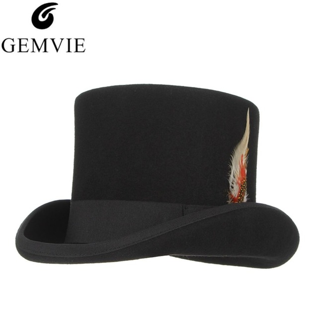 British Style Wool Fedora Steampunk Top Hat For Men Women Classical  President Cap With Feather Cosplay Magician Magic Hat in Box 0af3f0988c57