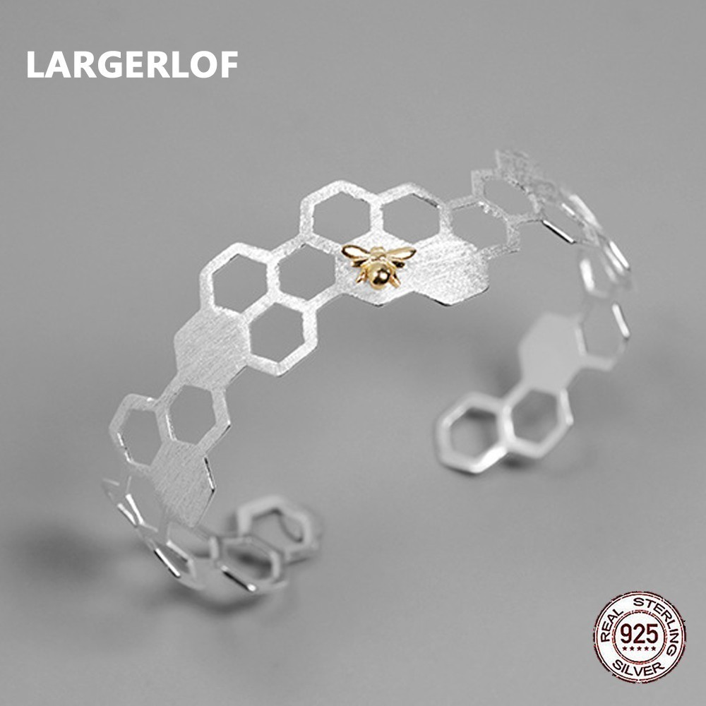 LARGERLOF 925 Sterling Silver Bracelet Female Hollow Adjustable Fine Jewelry Simple Vintage Bracelets For Women SZ37000 chic golden hollow rounded rectangle hasp bracelet for women