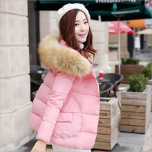 2017 new winter women's fashion down jacket coat thicker short paragraph Nagymaros collar hooded solid color casual