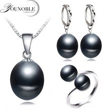 Real wedding black freshwater pearl jewelry set women,natural pearl sets 925 silver necklace earring anniversary gift(China)