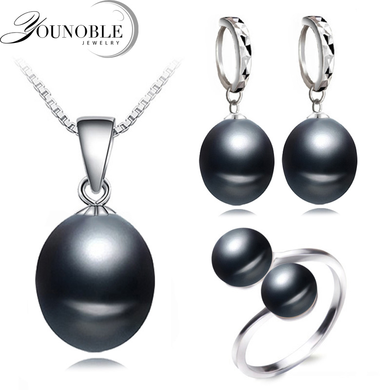 Real wedding black freshwater pearl jewelry set women,natural pearl sets 925 silver necklace earring anniversary gift