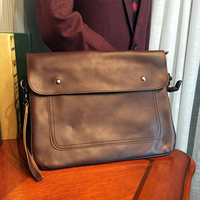 PUNKLADY New 2016 Men Famous Brands Italian Leather Vintage Envelope Day Clutch Bags Brown Cover Casual