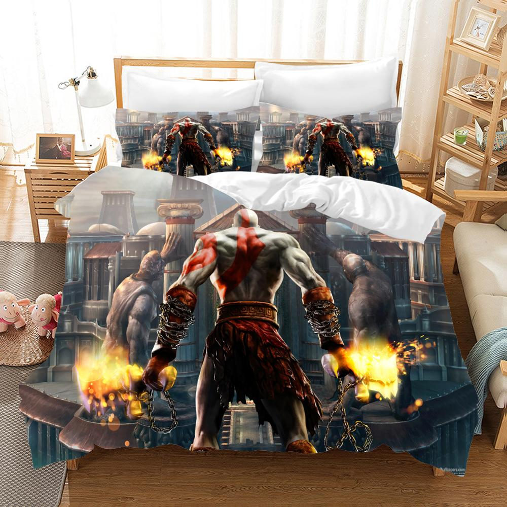 3D print Bedding set game God of War kids' gift Twill soft sanding Duvet cover set Home Textiles.