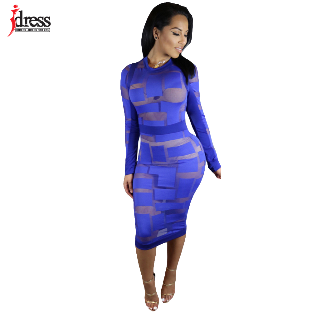 08bfe789b1f IDress Autumn Winter Women Black White Blue Sexy Club Bodycon Dress Sheer  Mesh Patchwork Vintage Long Sleeve Bandage Party Dress-in Dresses from  Women's ...