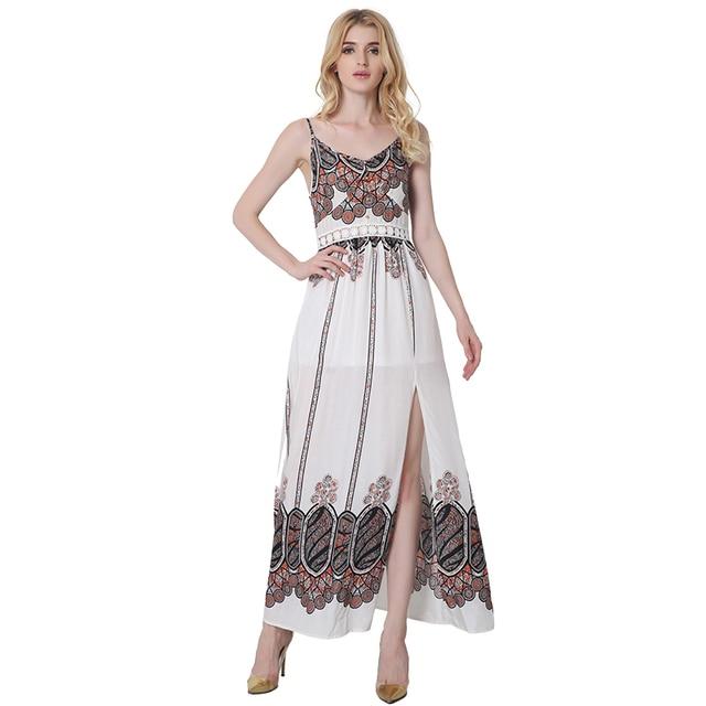 0cb3001b76 2017 Sexy Strap Print Sleeveless Long Dress Side Split Backless Shift Beach  Wedding Maxi Dress Summer Party Bohemian Dress