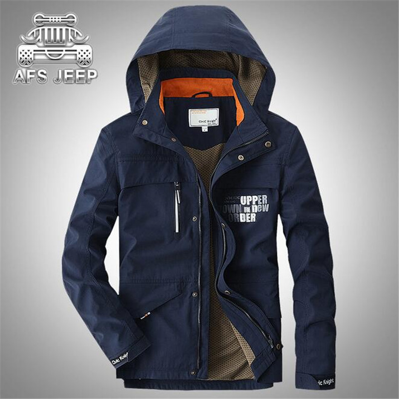 AFS JEEP 2017 New Design Single Layer Summer Man's Travel Water proof jacket,Removed hat,Zipper fly Summer autumn Cargo Outwears