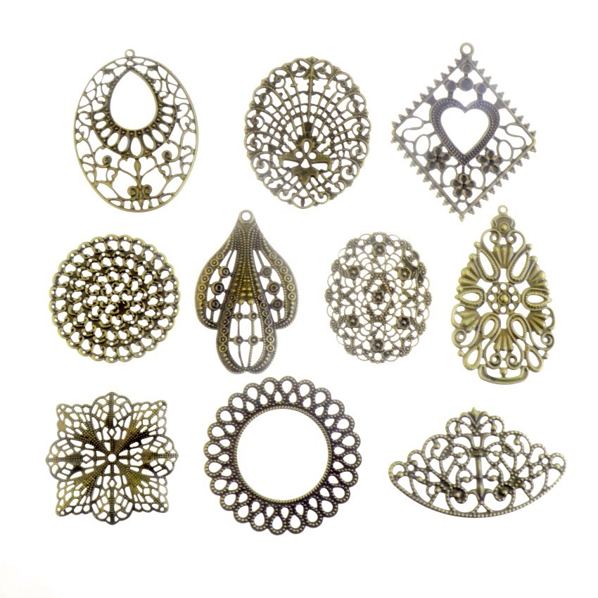 Conectores de bronze e metal em 10pçs, conectores antigos de bronze com embalagem para decoração de joias diy