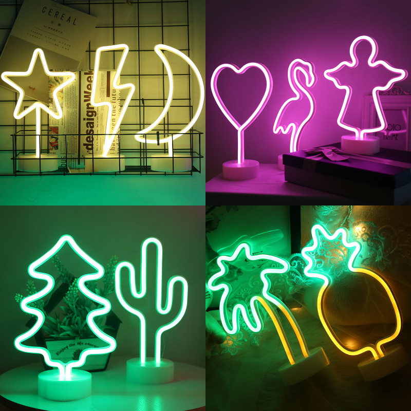 Jiaderui LED Neon Night Light Table Lamp Flamingo/Cactus/Moon/ Star/Heart for Home New Year Christmas Wedding Decor Lamp Battery new arrival colorful neon led bulbs melbourne shuffle dance costume night lamp el wire bright ghost step suit for concert party