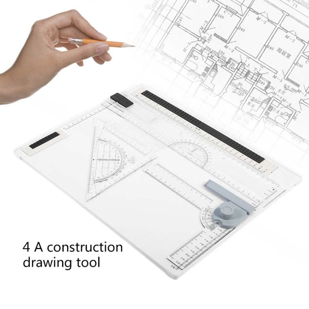 38*30cm A4 Rapid Portable College Long Straight Drawing Board Office Graphic Designs Work Drafting With Full L Straightedge