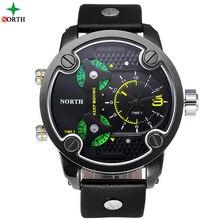Men Sport Watch 2016 NORTH Brand Fashion Casual Men Quartz Hour Clock Man Leather Military Army Waterproof Wristwatch Sport Men