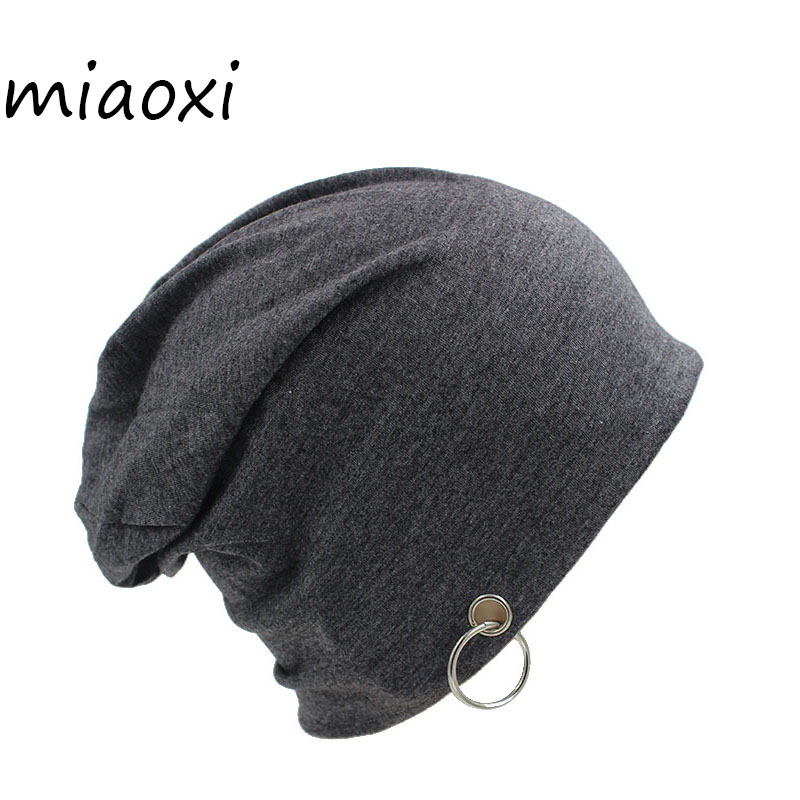 miaoxi Fashion Adult Novelty Solid Men Women Autumn   Beanie   With Ring Hip Hop New Casual Unisex Hat For Women's Caps Brand Bonnet
