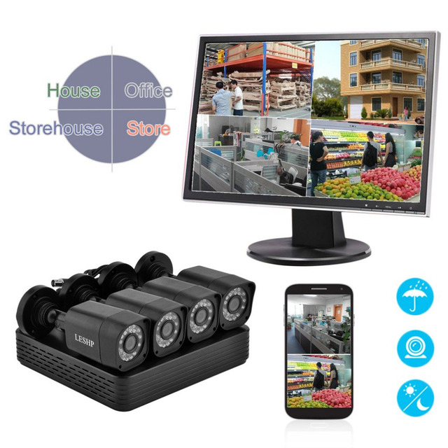 AHD 4CH 1080N 720P CCTV Security Guard Camera Set Home Outdoor Indoor DVR Surveillance Monitoring System Kit EU Plug