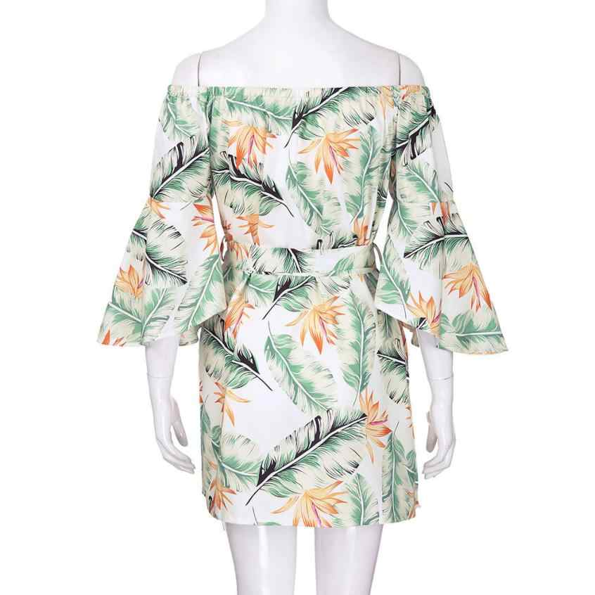 80dade001efa3 Women Summer Off Shoulder Leaves Short Mini Dress Ladies Beach Party  Dresses beach summer dresses Floral print Vintage New QX40