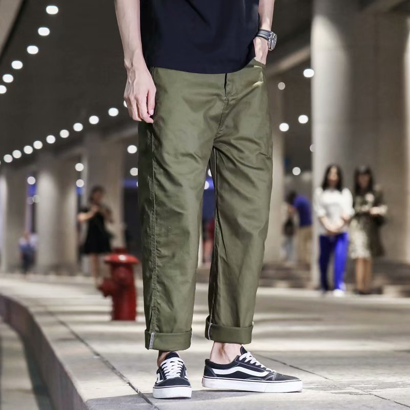Zogaa 2019 New Hot Ins Overalls Men's Tide Brand Japanese Casual Wild Trousers Straight Loose Simple Cotton Men's Cargo Pants