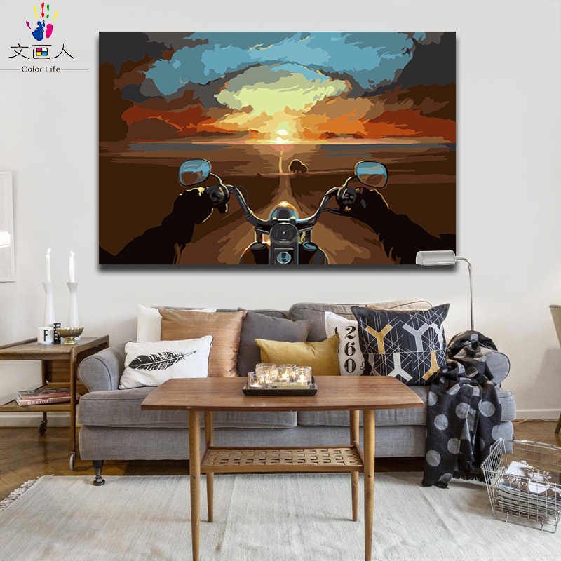 Coloring painting by numbers Abstract Landscape Distance sky Riding a motorcycle pictures Paintings paint by numbers with color