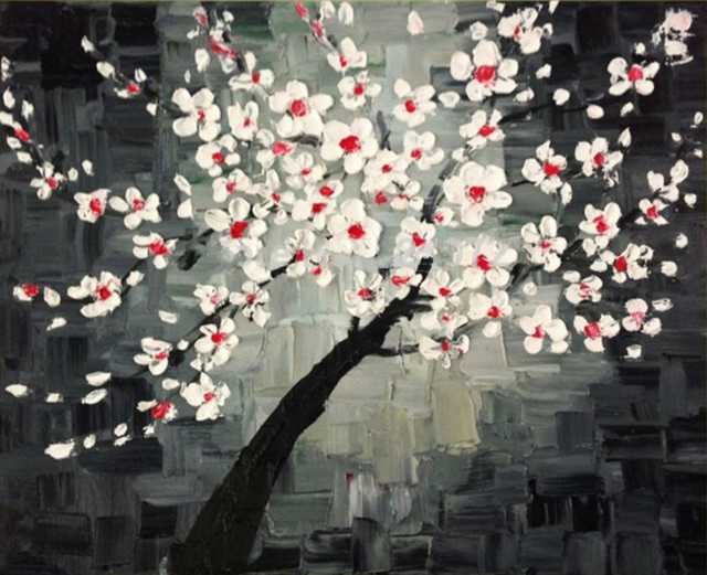 Knife chinese plum flowers wall art pictures handmade abstract knife chinese plum flowers wall art pictures handmade abstract floral paintings on canvas handpainted white flower mightylinksfo