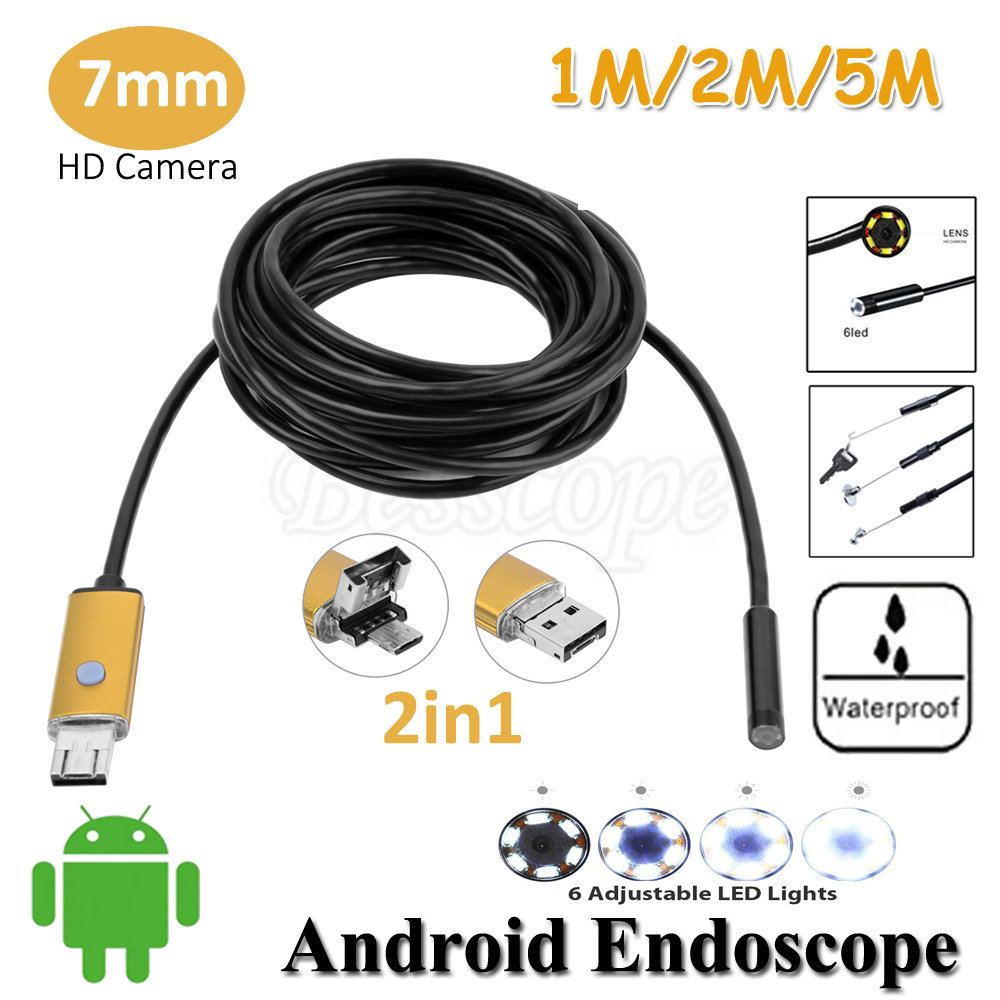 7mm Lens 2in1 PC Android USB Endoscope Camera 1M 2M 5M OTG Micro USB Snake Tube Inspection Android USB Borescope IP68 Waterproof 2m mini android usb endoscope camera 5 5mm lens snake tube waterproof android phone otg usb endoscope borescope camera 6pcs led