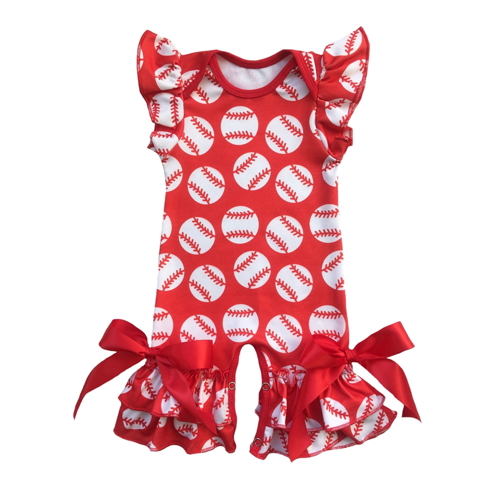 Baby Girl Romper Infant Baseball Puff Sleeve Jumpsuit Newborn Birthday Outfit Ruffle Onesie for Baby Girls One piece